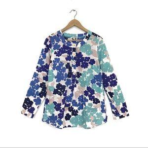 Boden Blue Floral Big Button Popover Tunic Blouse